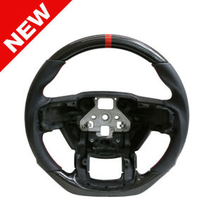 Handkraftd 2015 Ford F150 Steering Wheel Real Carbon Fiber Leather Red Stitch