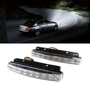 2 X 8 Led Daytime Running Lights Car Driving Drl Fog Lamp Light Super Bright 12v