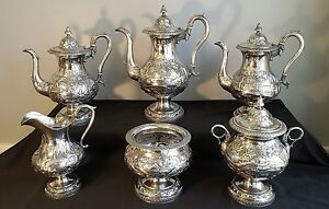 Monumental R W Wilson 6 Piece Repousse Coin Silver Coffee Service Philadelphia