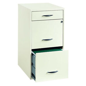 Lockable File Cabinet 3 drawer Organizer White Steel Office