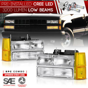 pre installed Led Low Beam factory Style 1994 1998 Gmc Sierra Ck Headlights