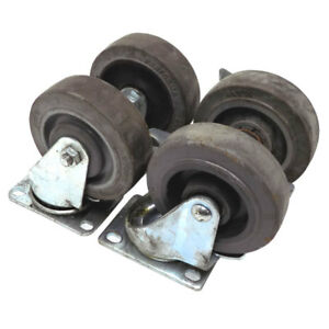 lot Of 4 Casters 4 X 1 25 Heavy Duty Industrial All Steel Swi
