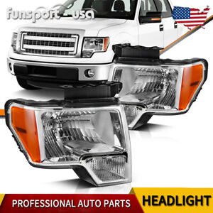 For 2009 2014 2013 Ford F 150 F150 Replacement Chrome Headlights Pair Left right