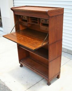 Antique Drop Front Desk Oak Barrister Lawyer S Bookcase Grm With Claw Feet