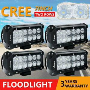 4x 7 Inch Cree 60w Cree Led Light Bar Flood Work Offroad Driving Lamp 4wd Suv