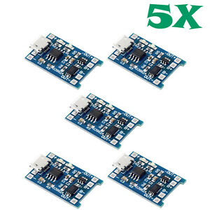 5pcs Tp4056 Dw01a 5v 1a Micro Usb 18650 Lithium Battery Charger Board Module