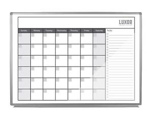 Luxor 48 X 36 Inch Magnetic Dry Erase Monthly Calendar Wb4836cal New