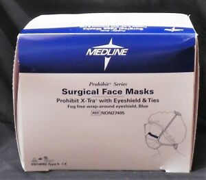 Medline Non27405 Prohibit Surgical Face Masks X tra W Eyeshield