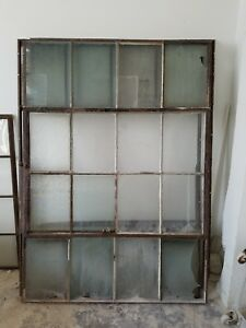 Large Architectural Steel Sash Hinged Window Industrial Vintage Antique 7ft Tall