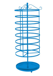 Earring Display Blue Jewelry Rack 8 Tiered 24 Rotating Spins Holds 192 Pair