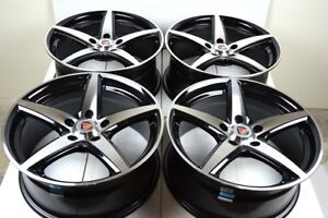 4 New Ddr St1 17x7 5 5x114 3 38mm Black Polished Face 17 Wheels Rims