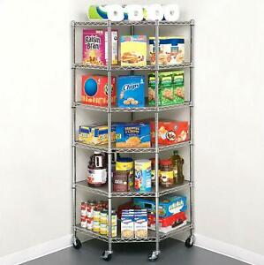 6 Layer Heavy Duty Wire Corner Shelf Unit Garage Storage Shelving Rack Organizer