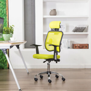 Ergonomic Office Chair Mesh High Back Adjustable Swivel Headrest Gas Lift Lemon