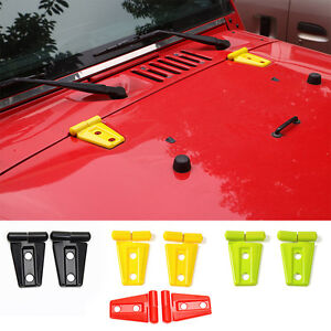 Red Abs Front Engine Hood Hinge Cover Trim Fit For Jeep Wrangler Jk 2007 2018