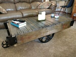 Restored Antique Industrial Factory Cart Coffee Table