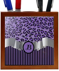 Rikki Knight Rk ph2266 Letter b Initial Purple Leopard Print And Stripes Monog