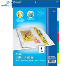 Bazic 3 ring Binder Dividers W 5 insertable Color Tabs case Of 24