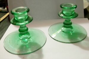Pair Of 3 5 Green Glass Candlesticks Mantle Set Of 2