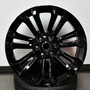 24x10 6x139 7 Et31 All Gloss Black Wheels Set Of 4 Rims Fit Chevy gmc