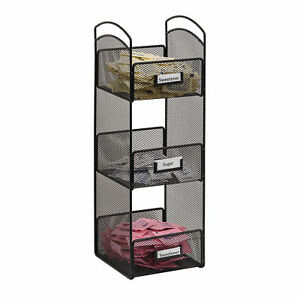 Lot Of 22 Black Metal Wire Tower Break Room Organizer 3 Storage Compartments