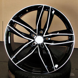 Audi S Line Rs6 Style 18x8 5x112 Et35 Black Machined Face Wheels Set Of 4 Rims