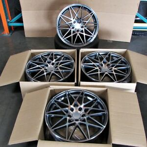 Bmw M3 Style 18x8 9 5x120 Et35 37 Gunmetal Machined Face Staggered Wheel Set