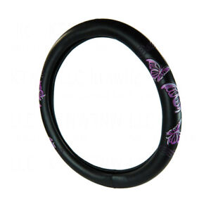 New Purple Butterfly Effect Black Synthetic Leather Steering Wheel Cover