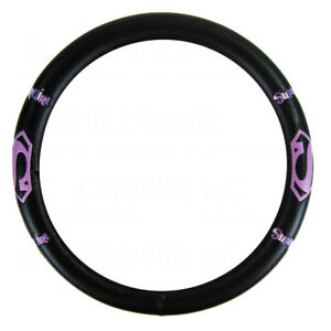 New Marvel Pink Supergirl Shield Black Synthetic Leather Steering Wheel Cover