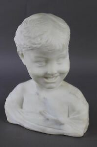Antique 14 Alabaster Marble Bust Of Laughing Boy Italy Excellent Settignano