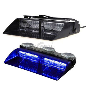 Car 16 Led Blue Blue Strobe Flash Light Dash Emergency Warning Flashing Lamp 12v