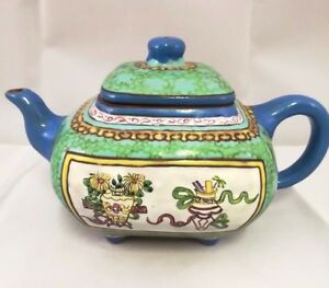 Chinese Antique Purple Clay Tea Pot With Famille Rose And Mark