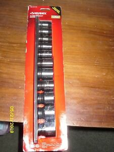 Husky 1 2 Drive Sae Six Point Impact Socket Set 11 piece 1000 029 780
