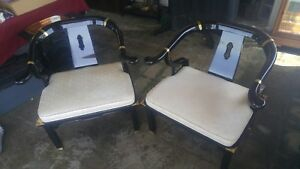 Mid Century James Mont Ming Style Lacquer And Brass Chairs Century Furniture