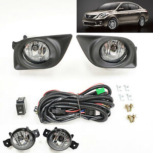 For 2012 2014 Nissan Versa Clear Lens Fog Light Kits With Bezel Wire Switch Bulb