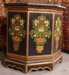 Authentic Tony Duquette Indian Black Polychromed Wood Side Tables W Provenance