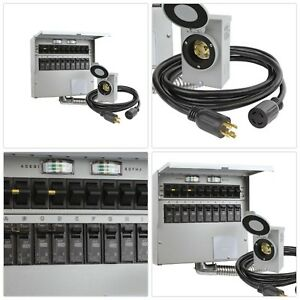 Transfer Switch Portable Wall Mounted Double Pole Generator Cord Heavy Duty