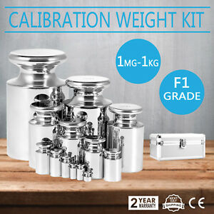 F1 Grade 1mg 1000g Stainless Calibration Weight Kit Tweezers Non magnetic Smart