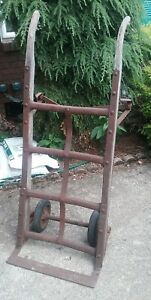 Vintage Farmer Antique Industrial Hand Truck Cart Dolly Metal Wood