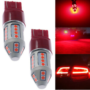 2pack 7443 Red Flash Strobe Blinking Alert Safety Brake Tail Stop Light Bulbs Us