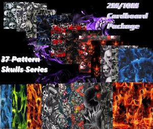 skulls Prints Water Transfer Hydrographics Dipping Film Series Fast Shipping