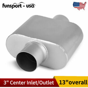 Single Chamber Performance Street Race Muffler 3 Inch Center Inlet Outlet Oval