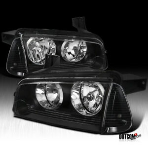 2006 2010 Dodge Charger Black Clear Headlights Signal Corner Lamps Left Right