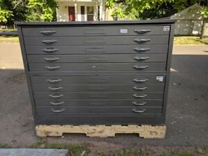 Vintage Hamilton Flat File Map Cabinet 10 Drawer With Top And Base
