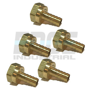 (5 PACK) 12 HOSE ID TO 34 FEMALE NPSM SWIVEL BRASS ADAPTER FITTING W GASKET