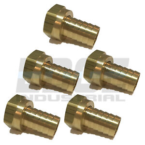 (5 PACK) 34 HOSE ID TO 34 FEMALE NPSM SWIVEL BRASS ADAPTER FITTING W GASKET