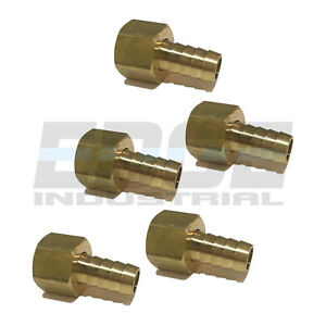 (5 PACK) 12 HOSE ID TO 12 FEMALE NPSM SWIVEL BRASS ADAPTER FITTING W GASKET