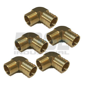 5 Pack 1 Hose Barb Elbow X 3 4 Male Npt Brass Pipe Fitting Gas Fuel Wog