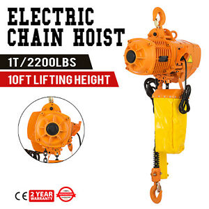 2200lbs Electric Chain Hoist 10 Lift Height Double Chain Pure Copper Motor 1t
