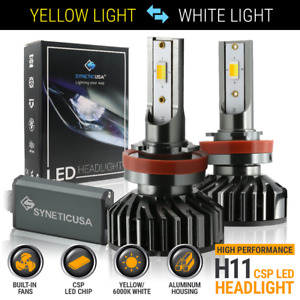 H11 h9 h8 120w Led Fog Light Kit Bulbs Switchback Dual Color Yellow 6000k White