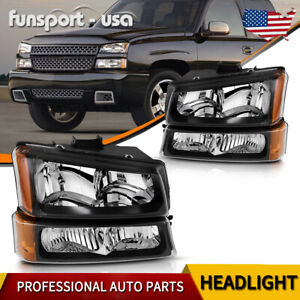 Black Housing For 2003 2006 Chevy Silverado Amber Side Headlight Lamp Set 4pcs